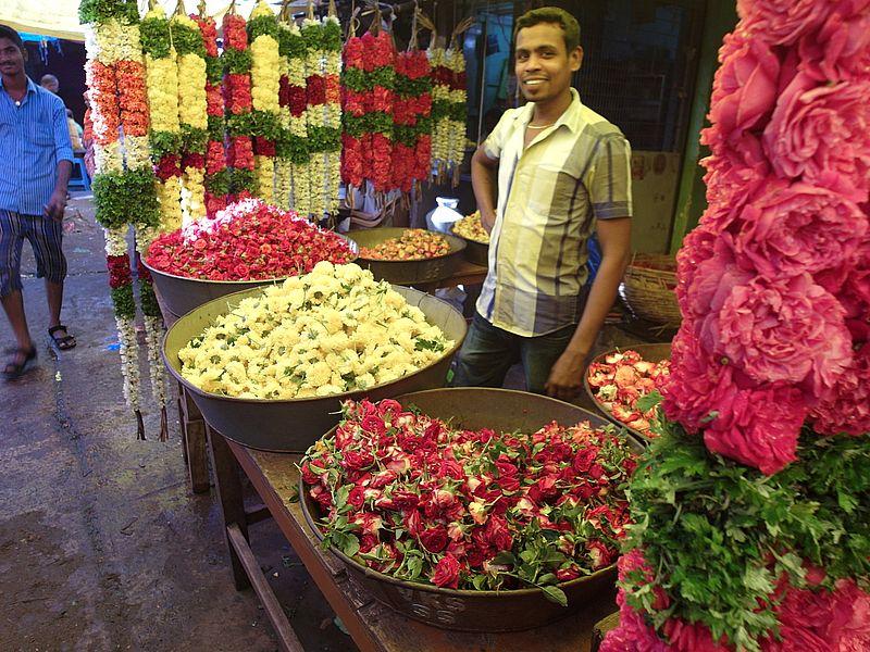 Цветочный рынок в Индии