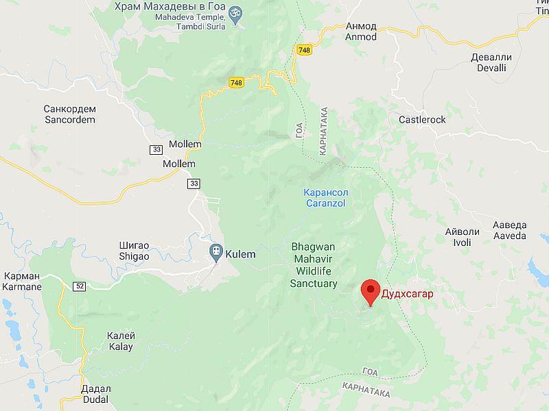 Карта Дудхсагар